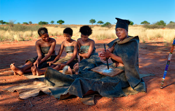 San-people-in-Namibia-stock